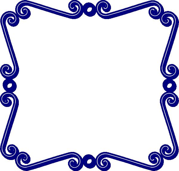 Blue swirl clip art. Navy clipart frame