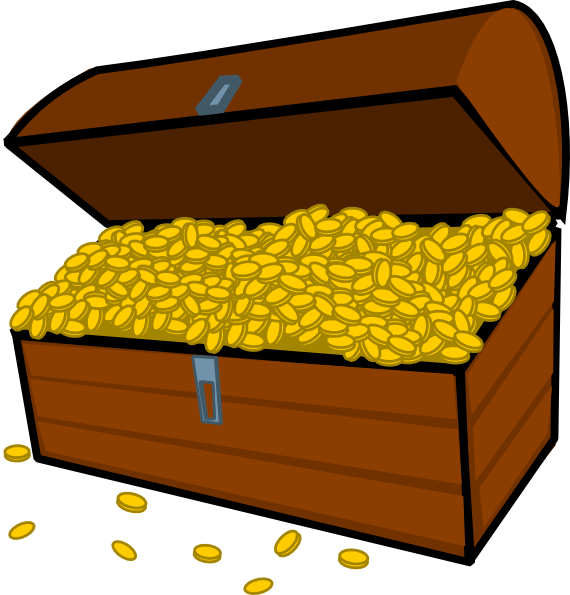 Box clip art at. Treasure clipart money