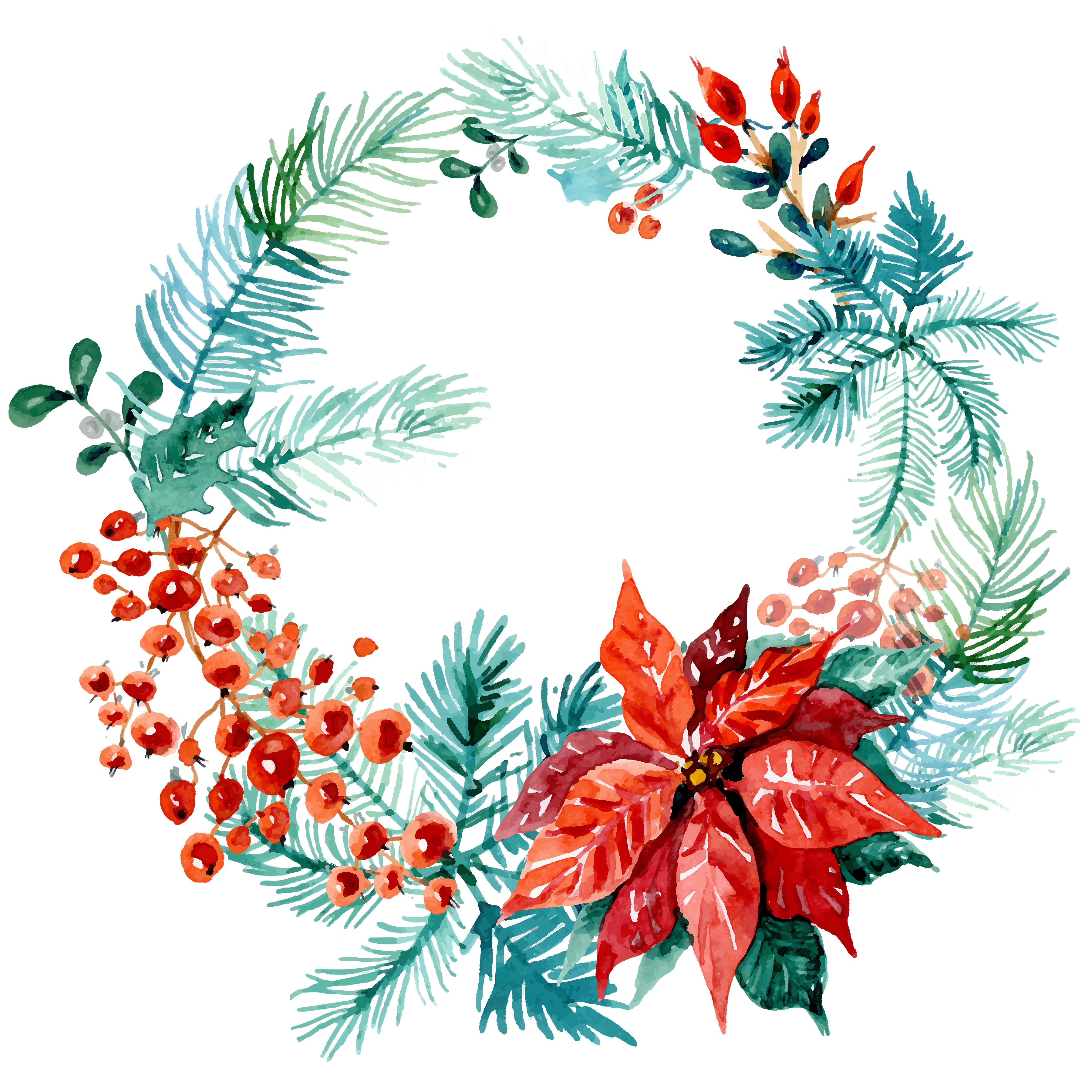 Clipart christmas watercolor. Free wreaths pretty things