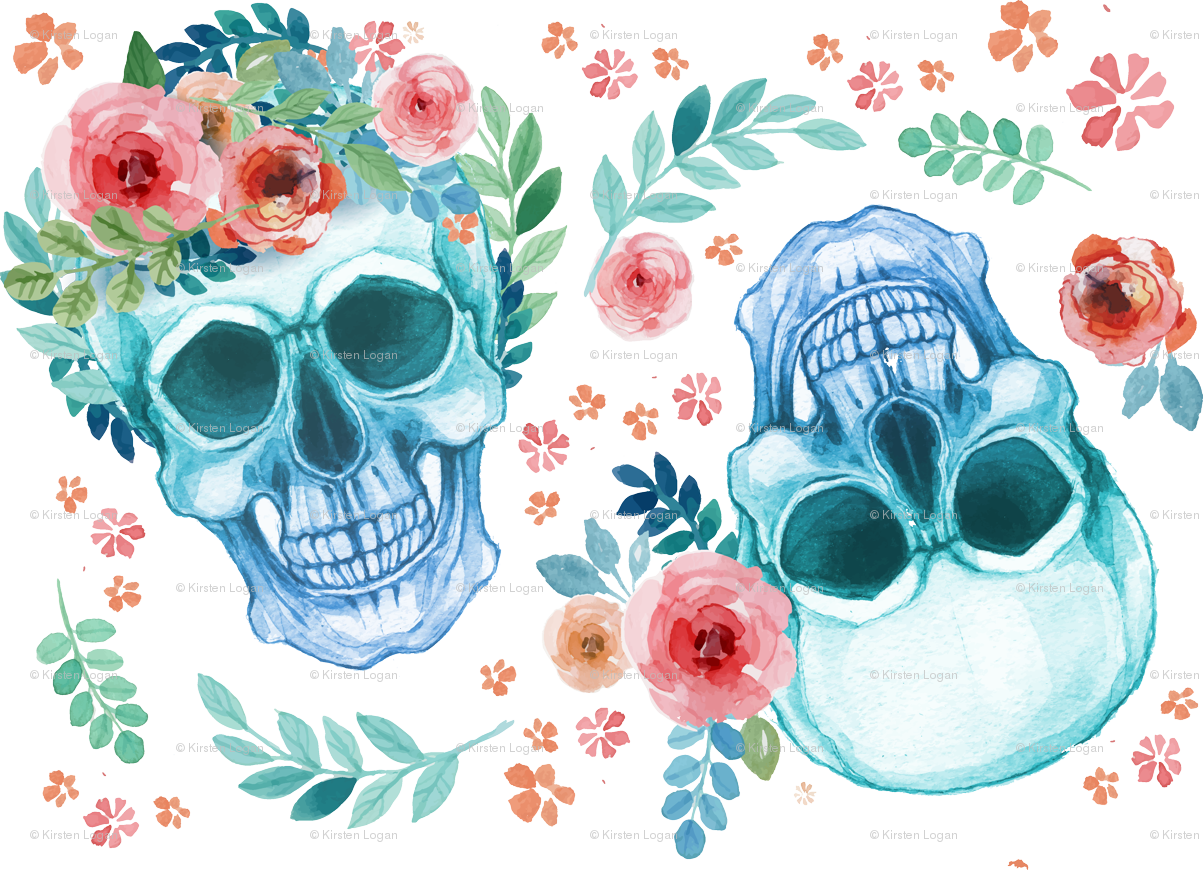 Starfish clipart watercolor. Sugar skull spring flowers