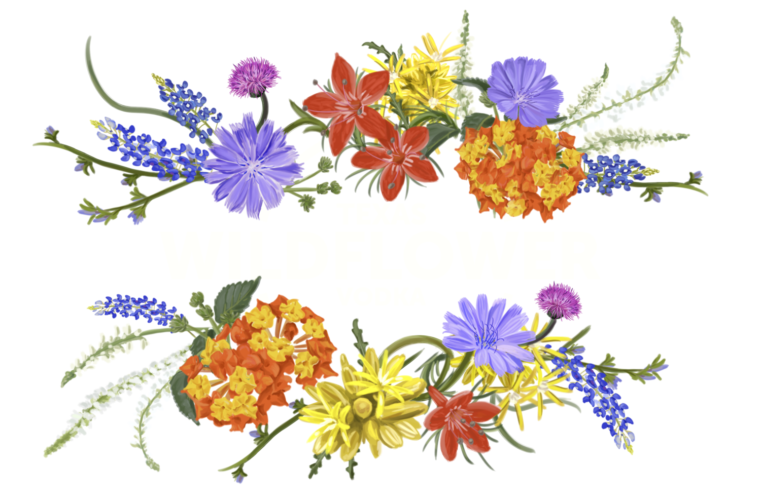 Wildflower watercolour flowers vodka. Clipart box watercolor