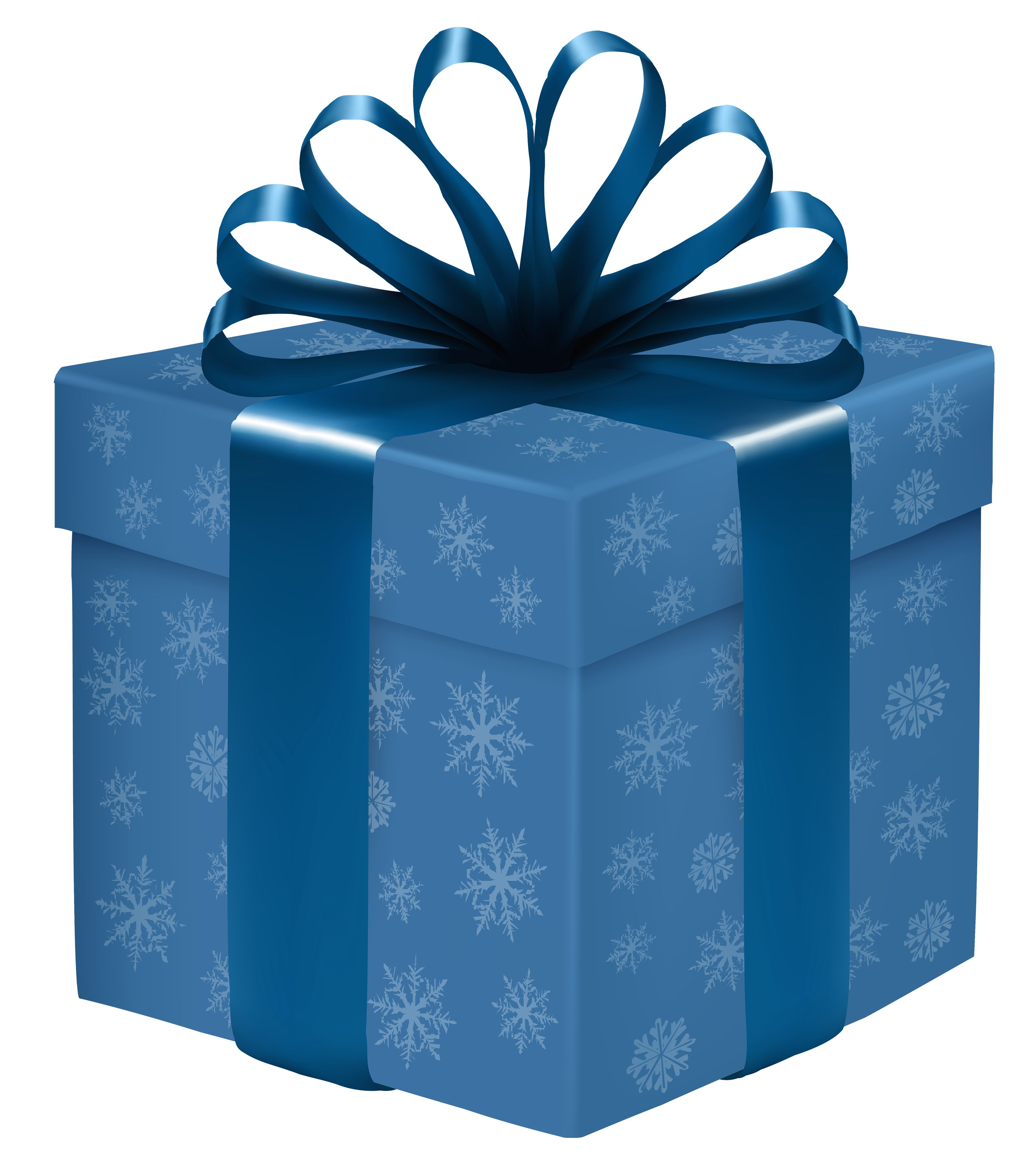 Blue box with snowflakes. Gift clipart stacked present