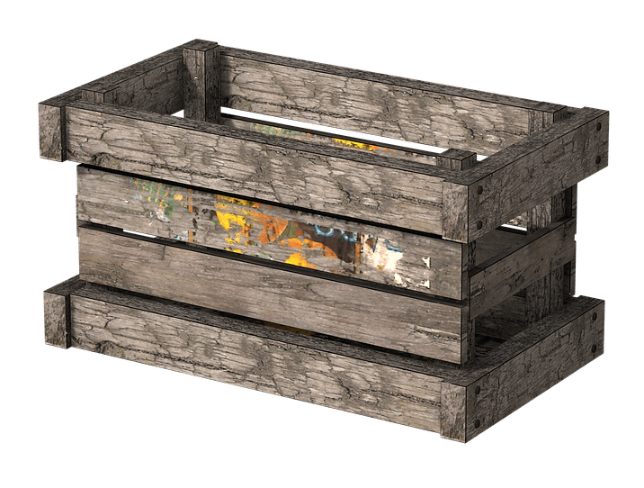 Wooden crate side view. Clipart box wood box