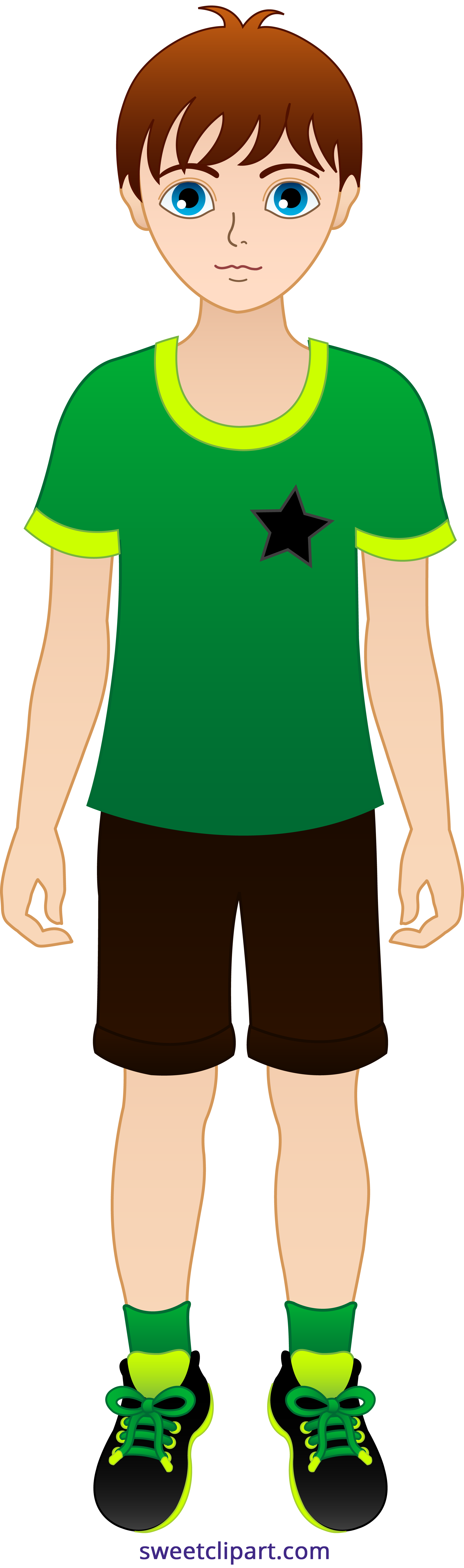 Little with brown hair. Clipart boy
