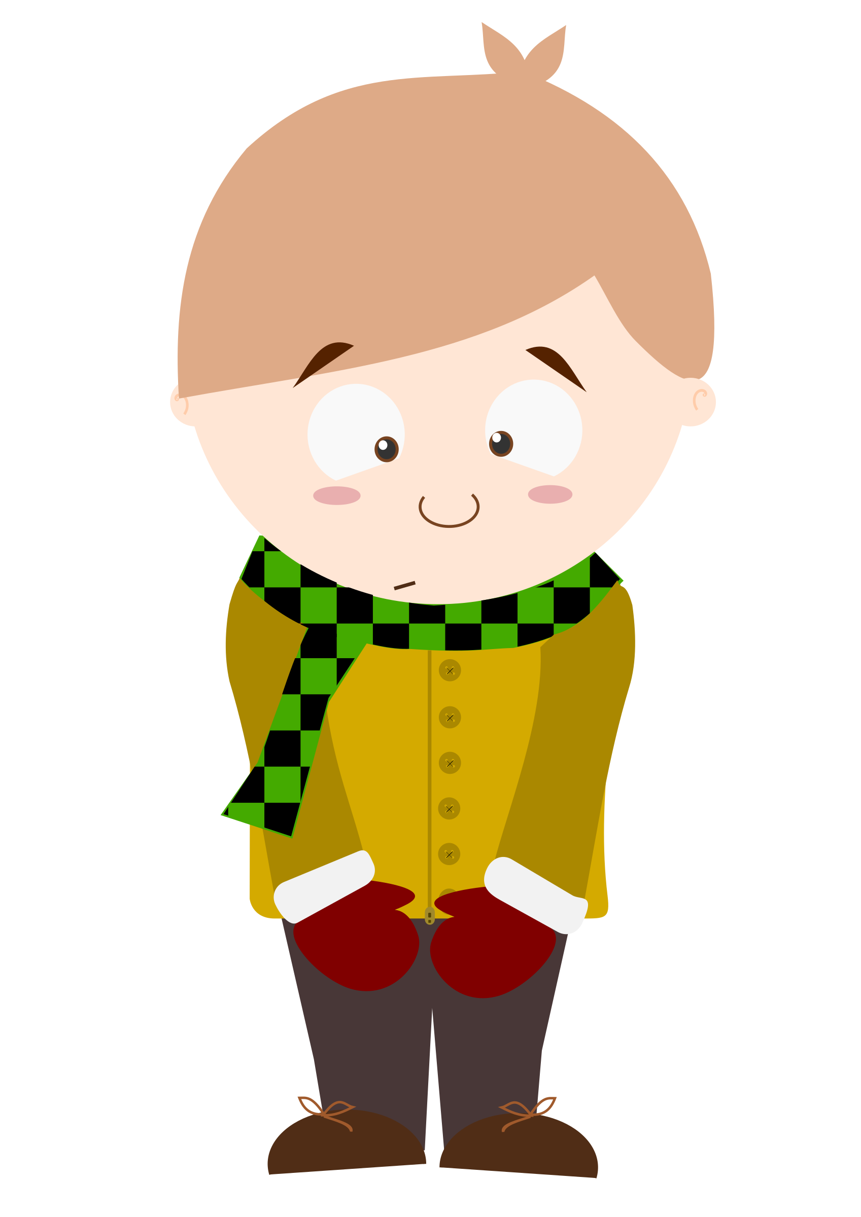 Cartoon kid big image. Shy clipart shy child