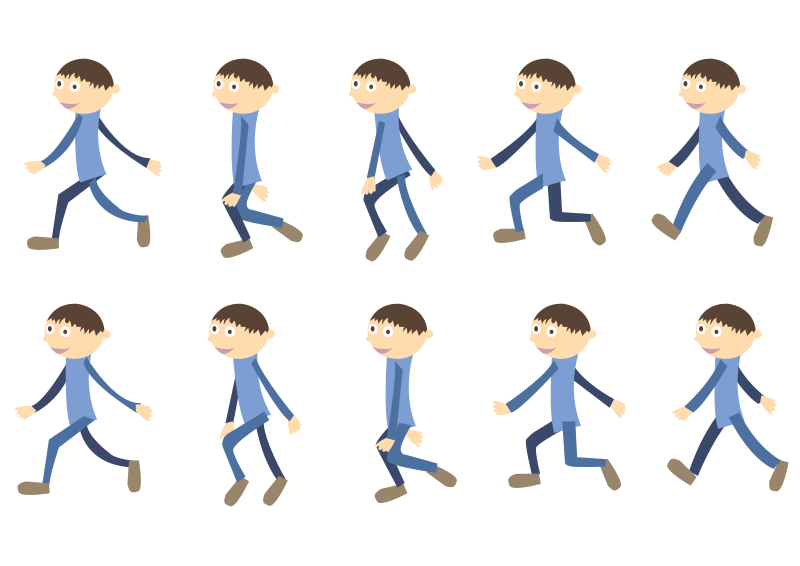 Clipart exercise walking. Walk cycle boy medium