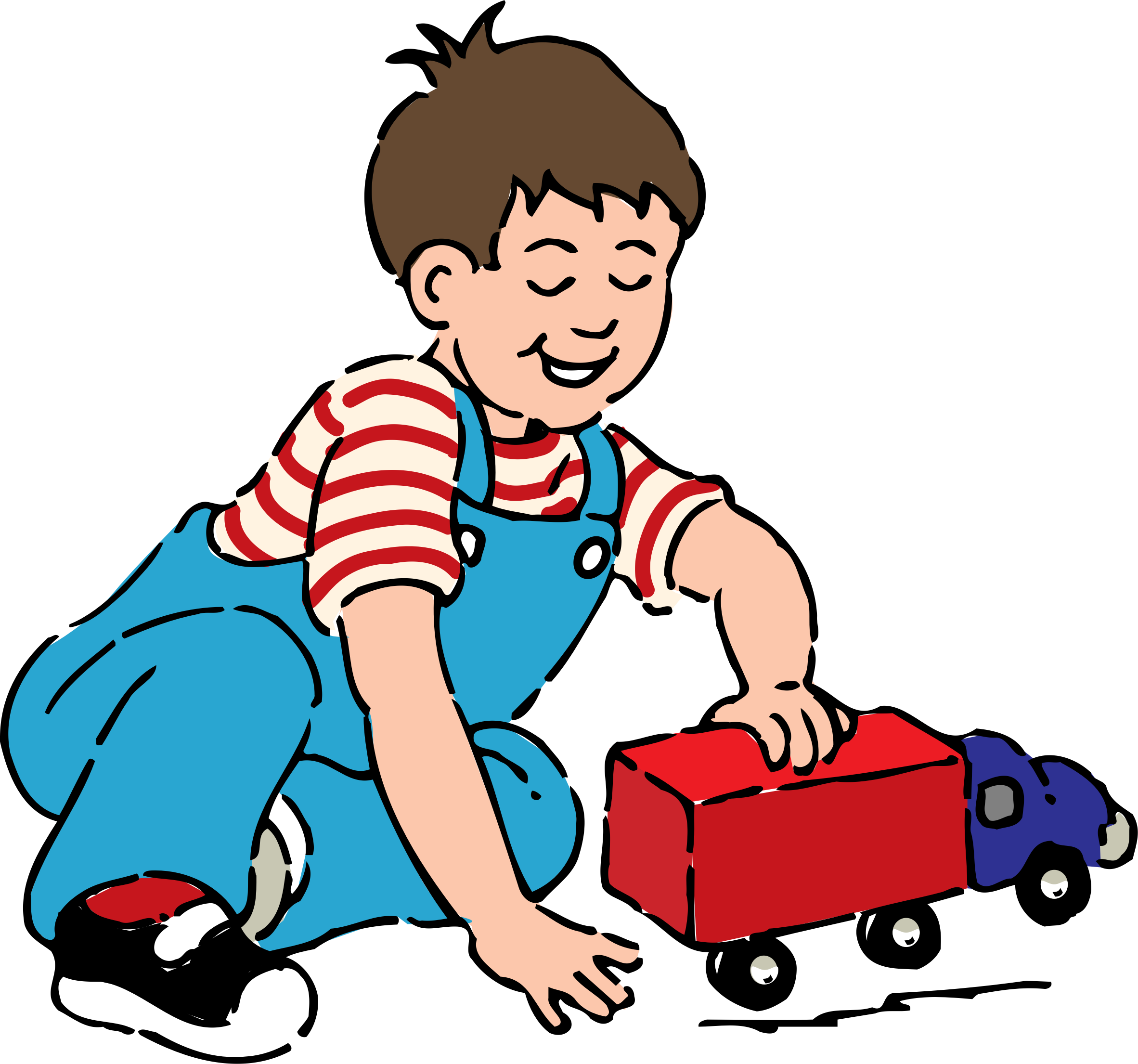 Boy playing with truck. People clipart toy