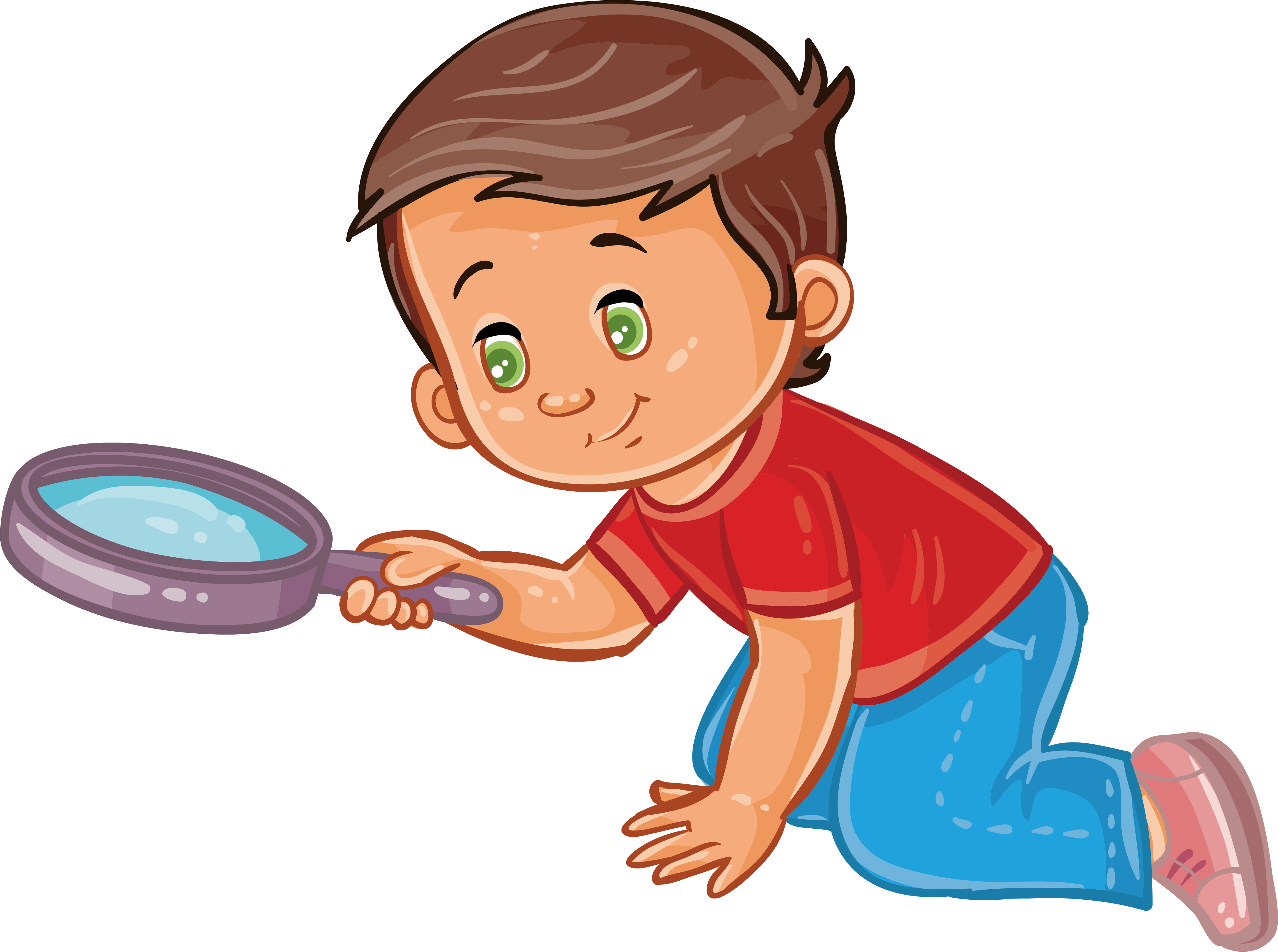 Kind clipart childrens. Boy magnifying glass child