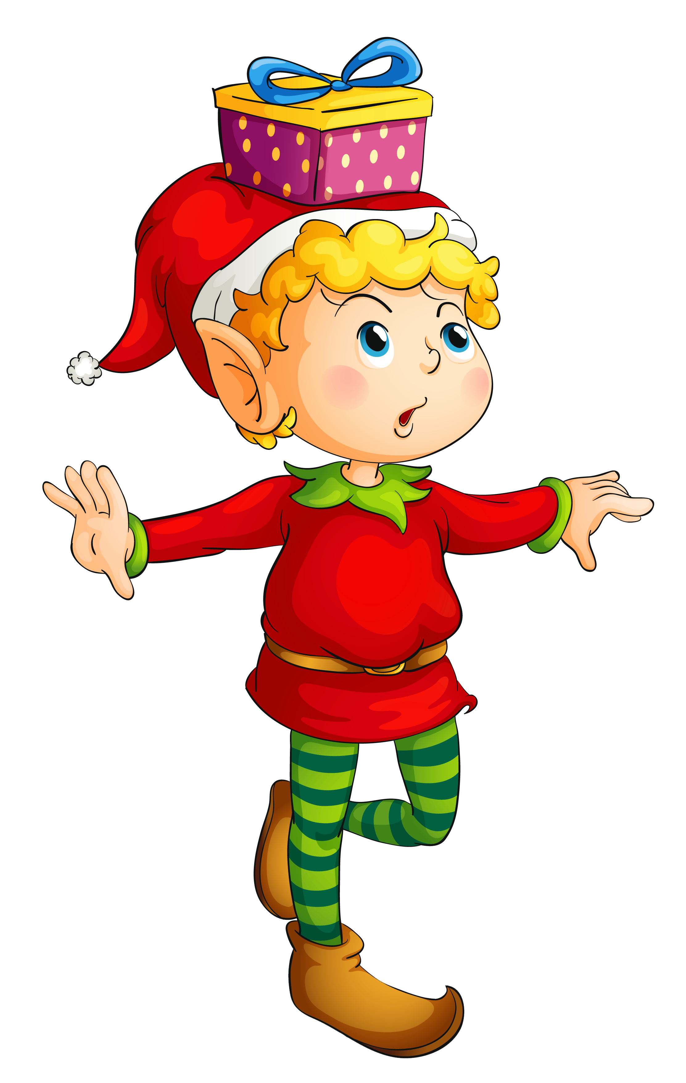 Puzzle clipart christmas. Elf with gift png