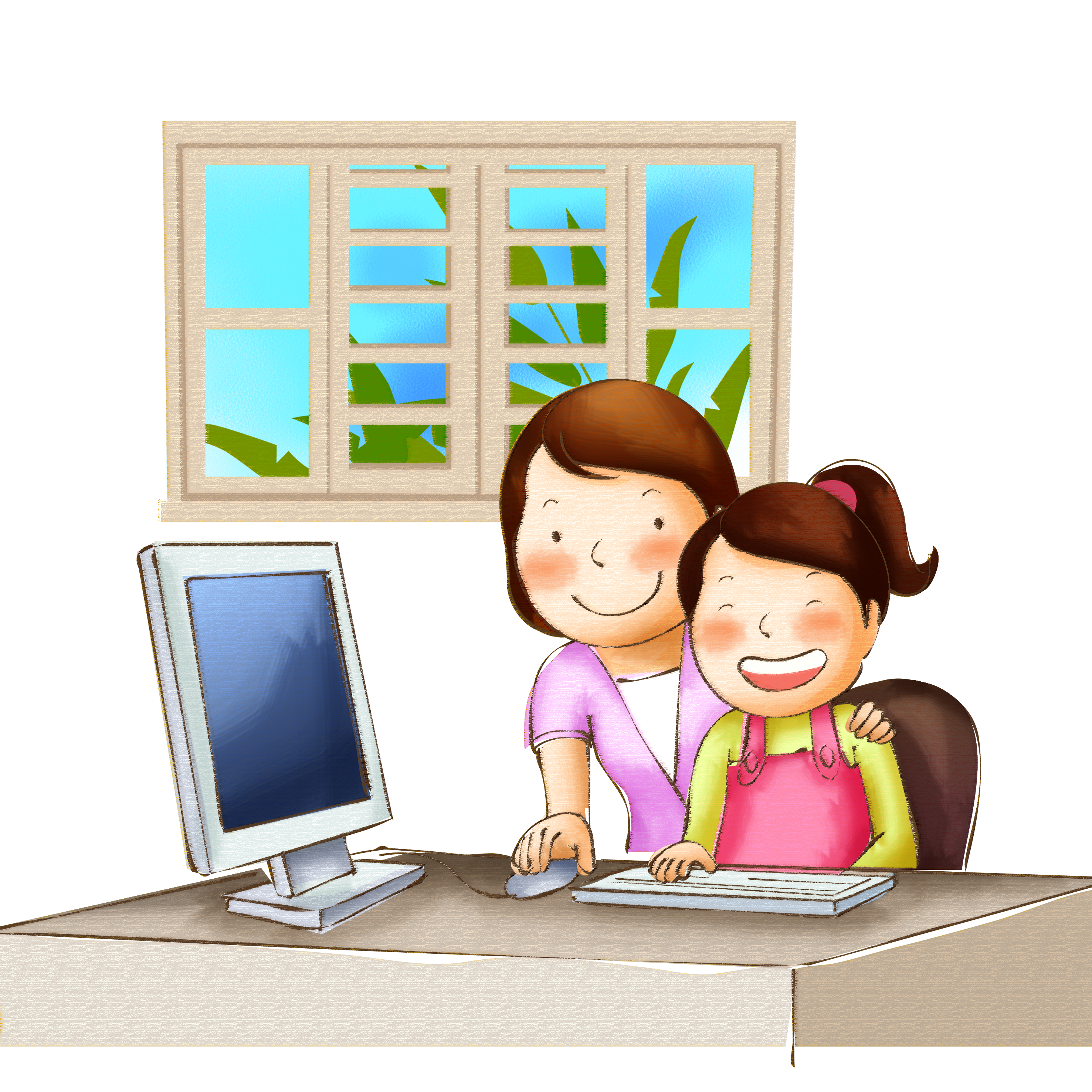 File mom teach children. Clipart computer child