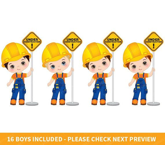 Contractor clipart boy. Construction boys vector