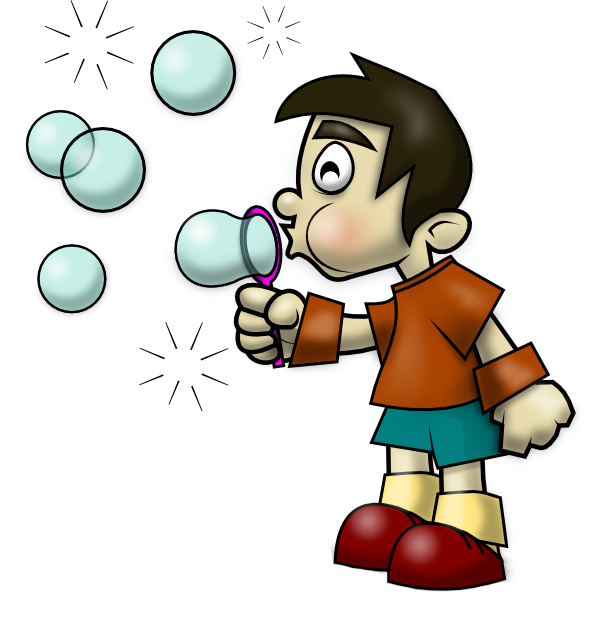 Shy clipart cartoon boy. Water blister kid bubble