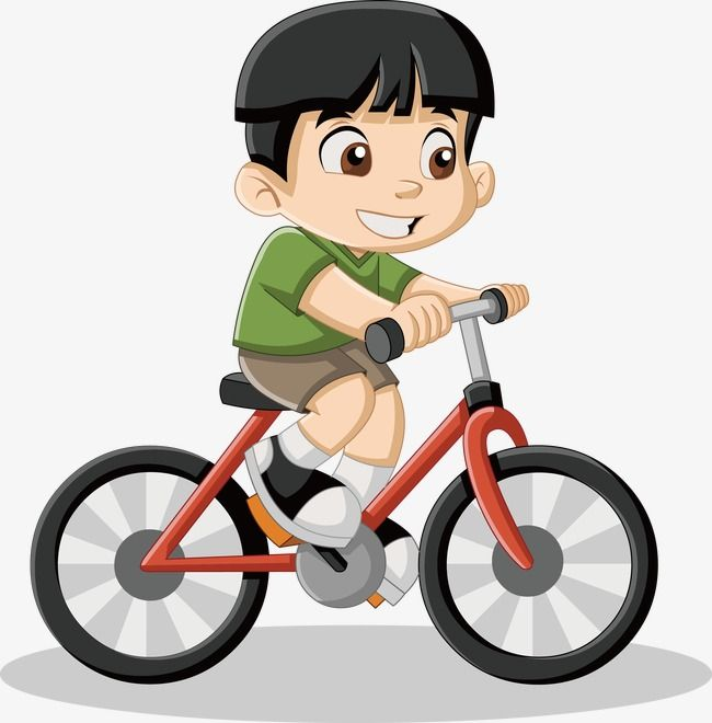 Riding a bike vector. Cycling clipart little boy