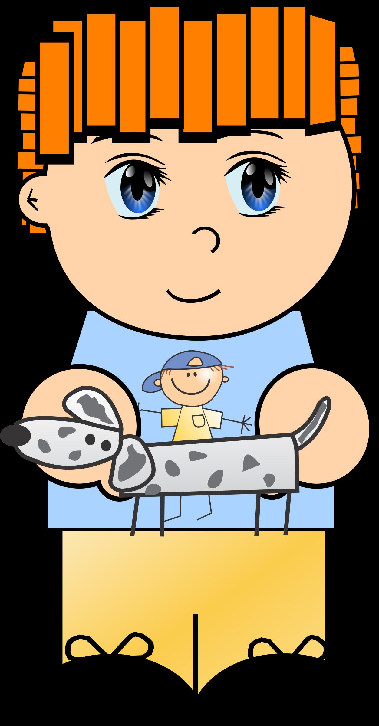 Dog clipart baby. Cartoon boy with big