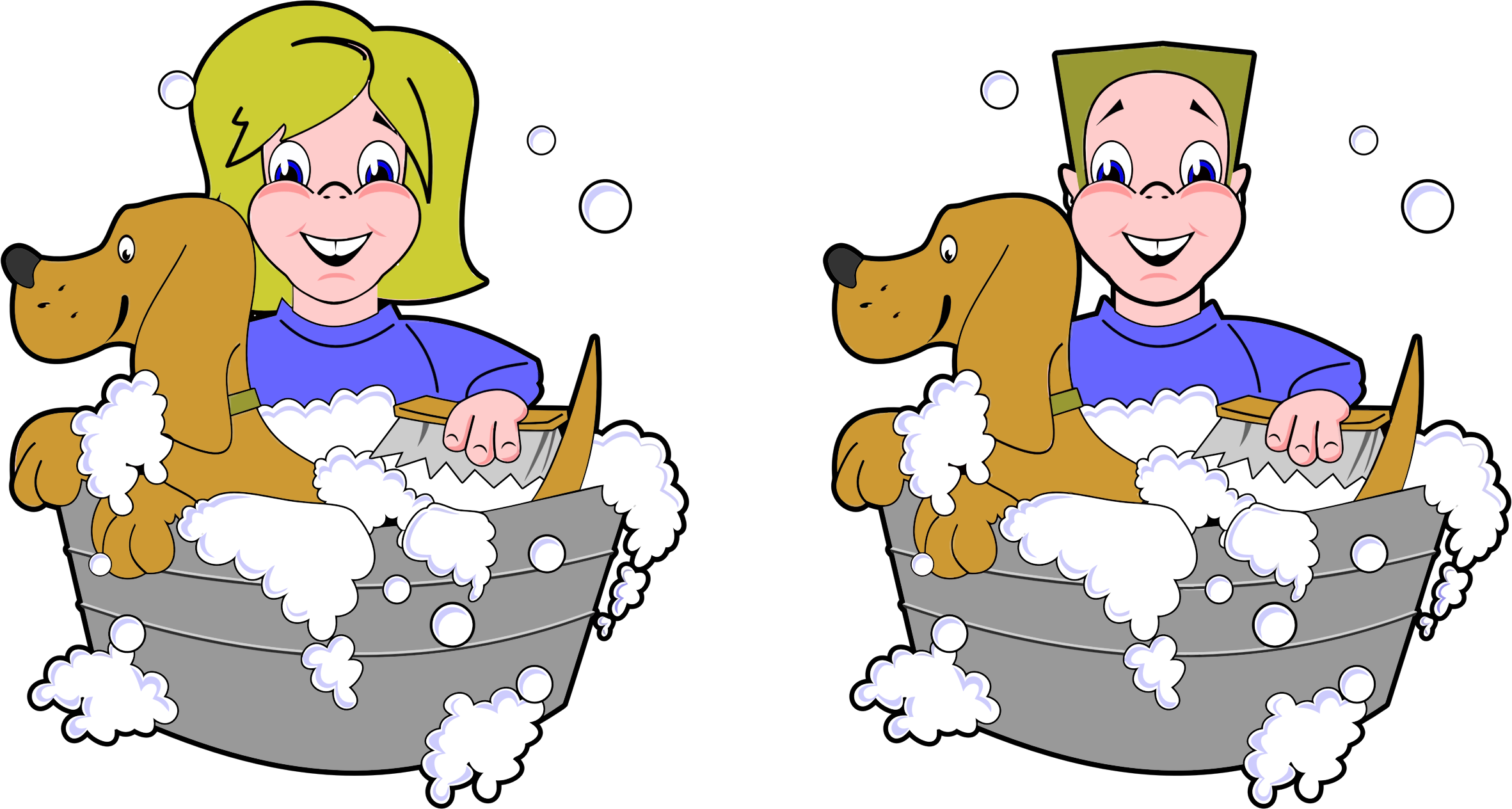 Pet clipart boy dog. Girl and washing dogs