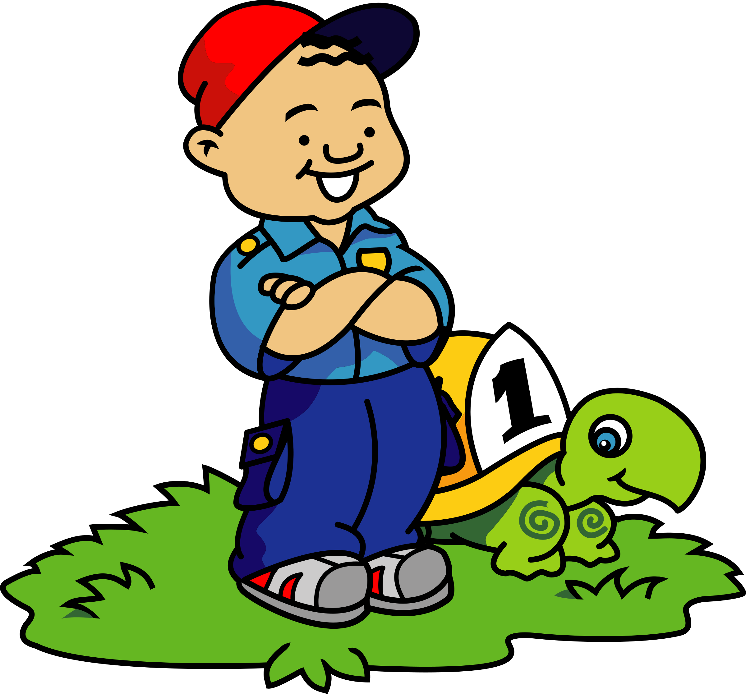 Dot clipart kid. Boy and turtle big