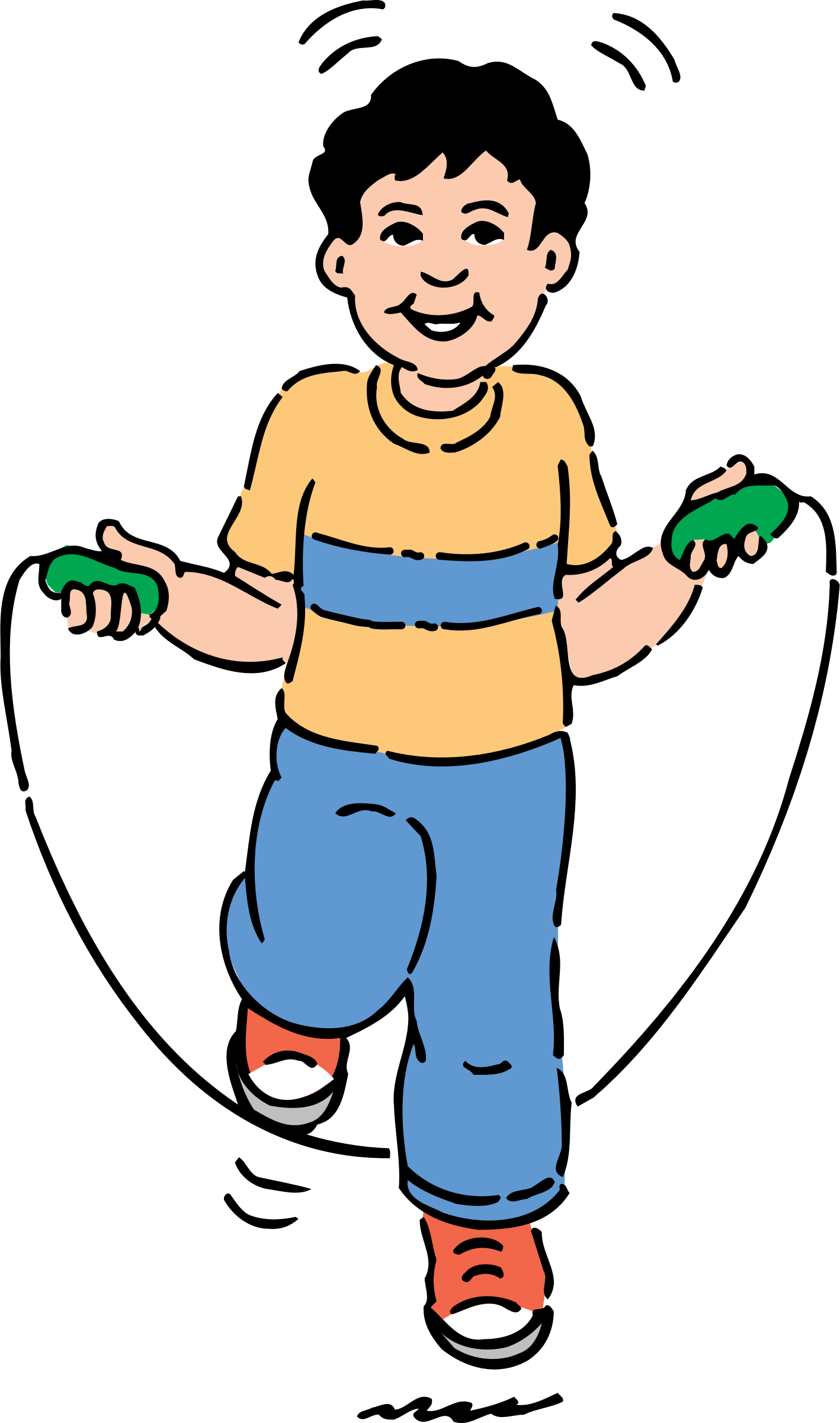 Clipart boy exercise. Jumping rope big image