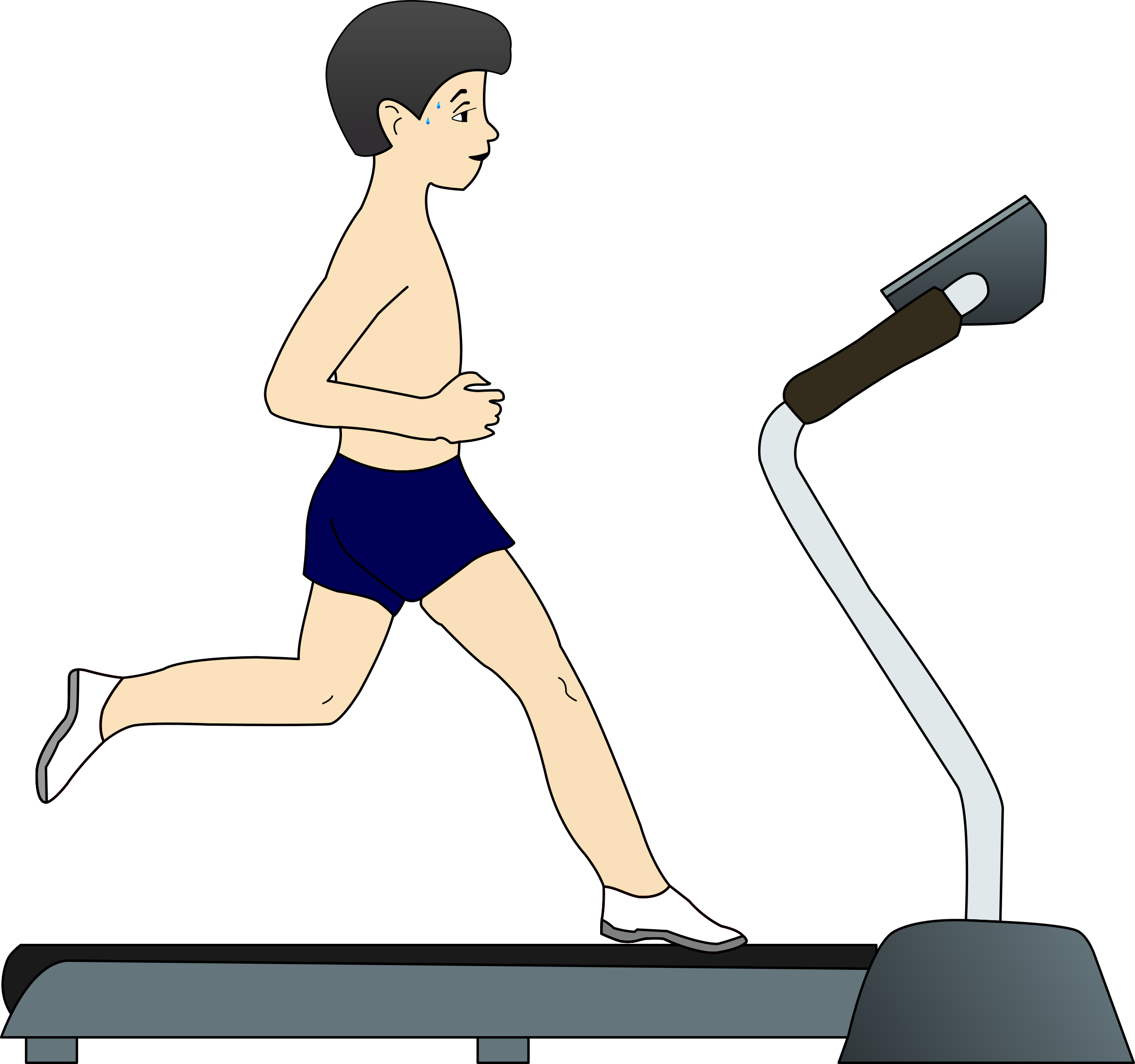 Running on treadmill big. Clipart boy exercise