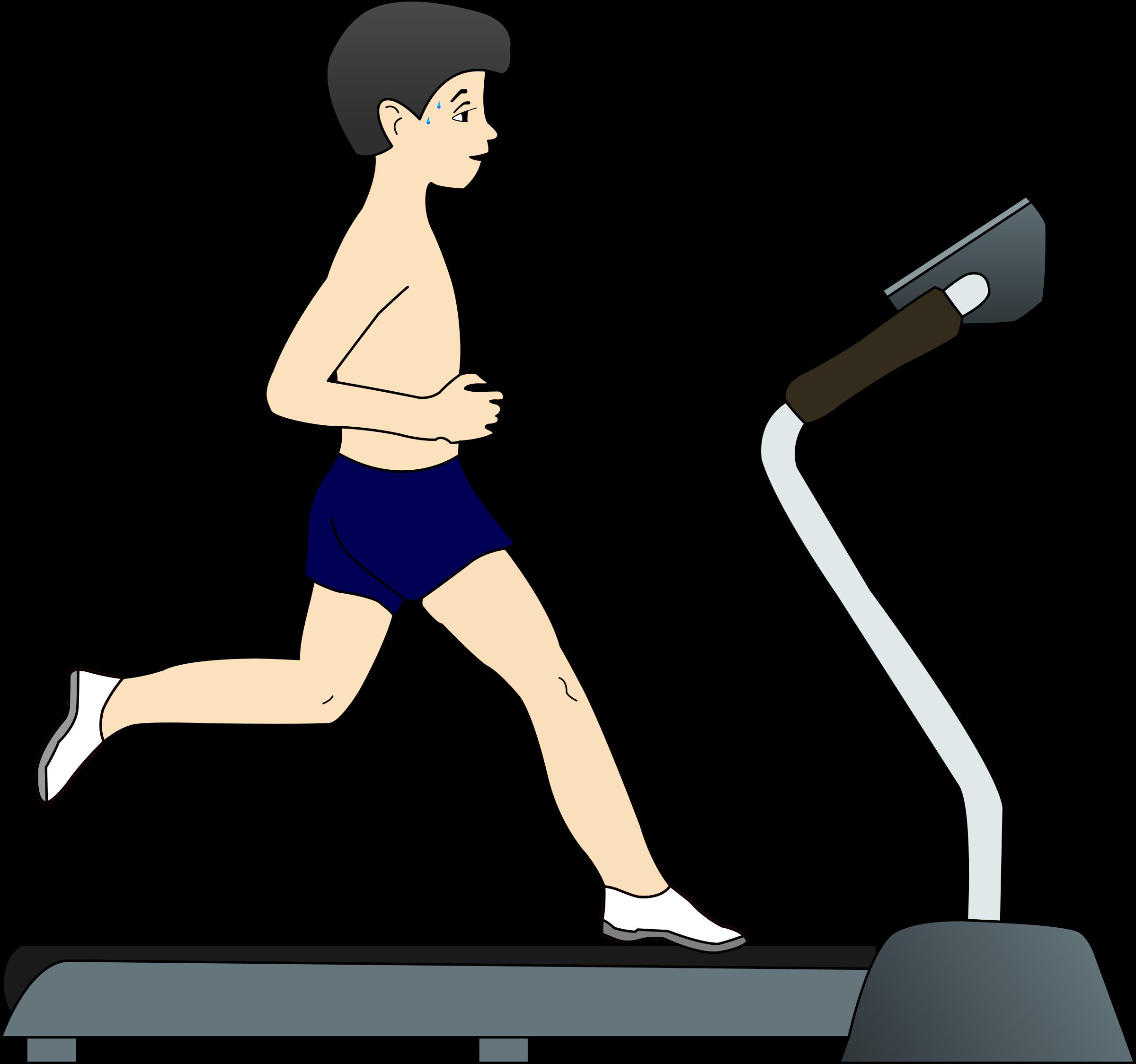 Boy running on treadmill. Exercising clipart icon