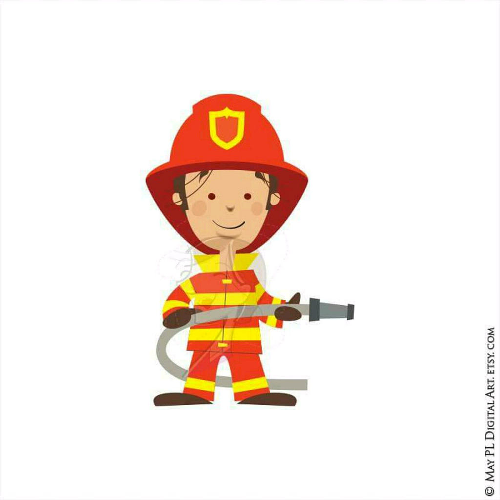 Fireman boy pencil and. Firefighter clipart child
