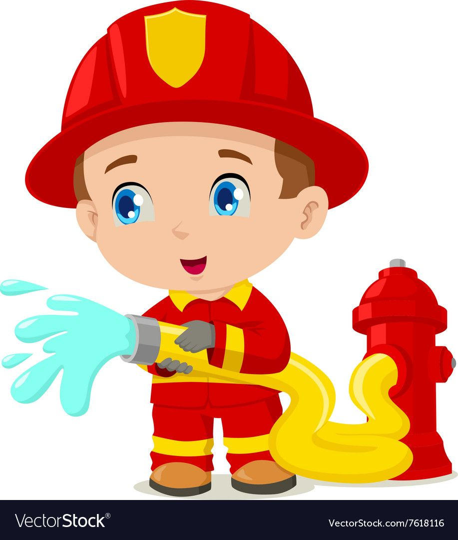 Firefighter royalty free vector. Fireman clipart animated