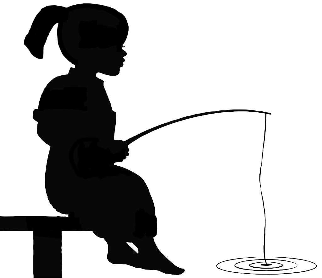 Lady clipart fisherman. Girl fishing silhouette at