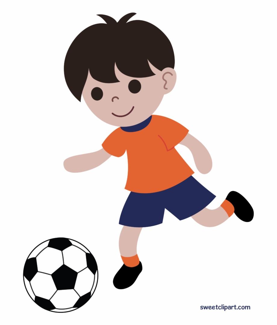 Boy playing soccer futbol. Clipart child football