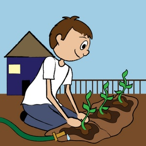 Boy clip art library. Gardening clipart animated
