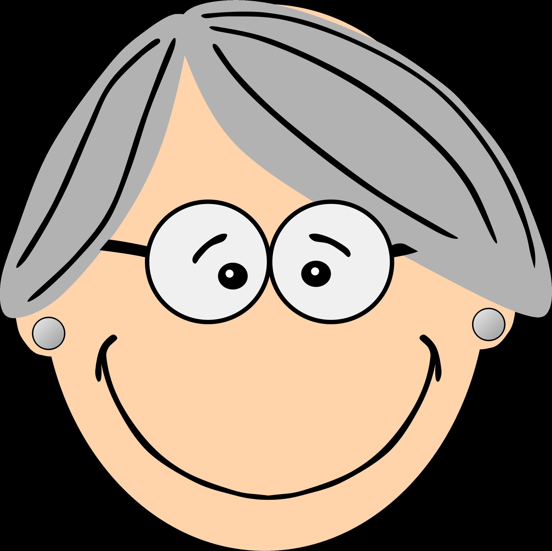 Grey haired big image. Clipart smile grandma