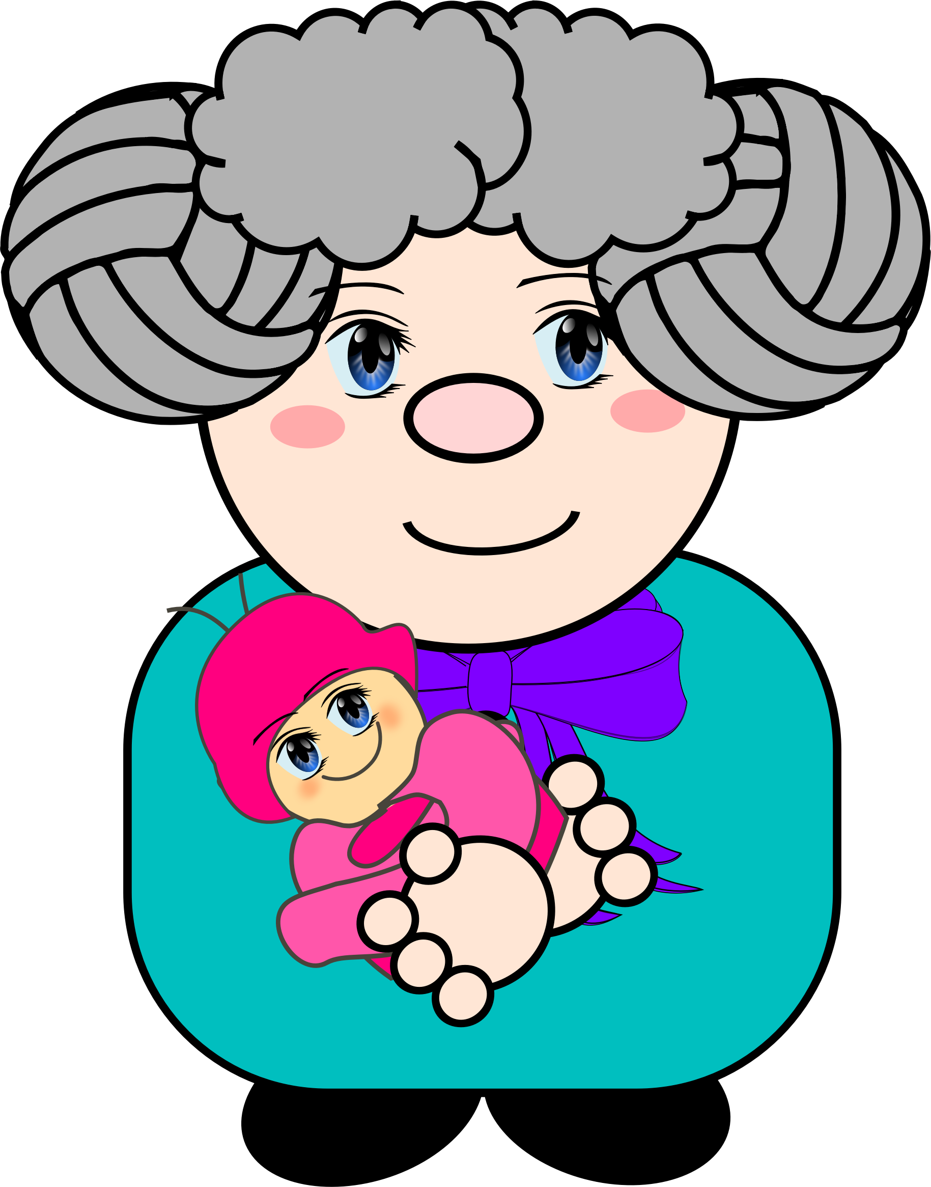 With baby big image. Kind clipart grandma
