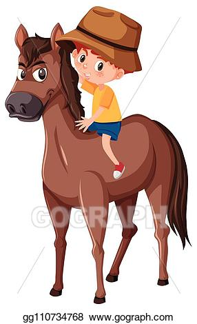Eps vector a riding. Clipart horse boy