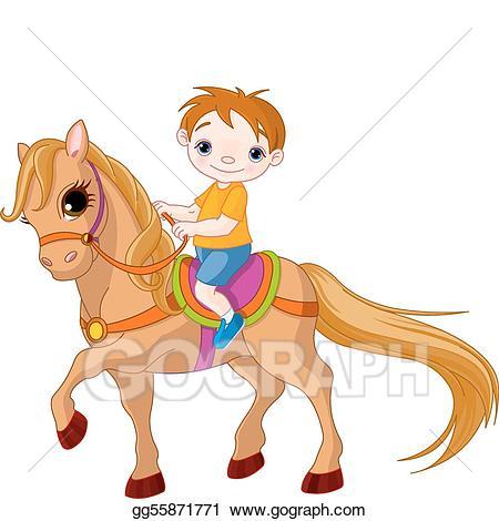 Vector art on horse. Horses clipart boy
