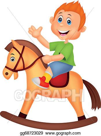 Vector art cartoon riding. Clipart horse boy