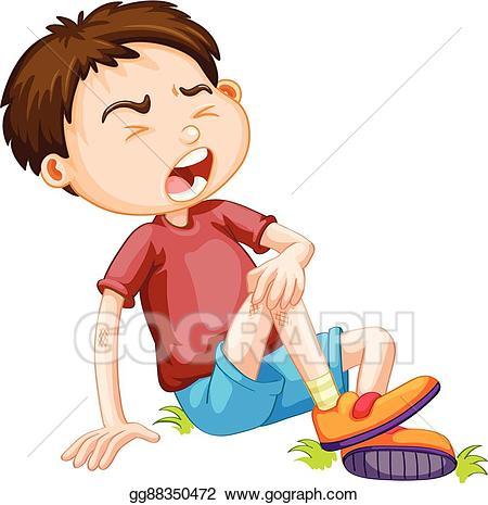 Hurt clipart child hurt. Vector stock boy hurting
