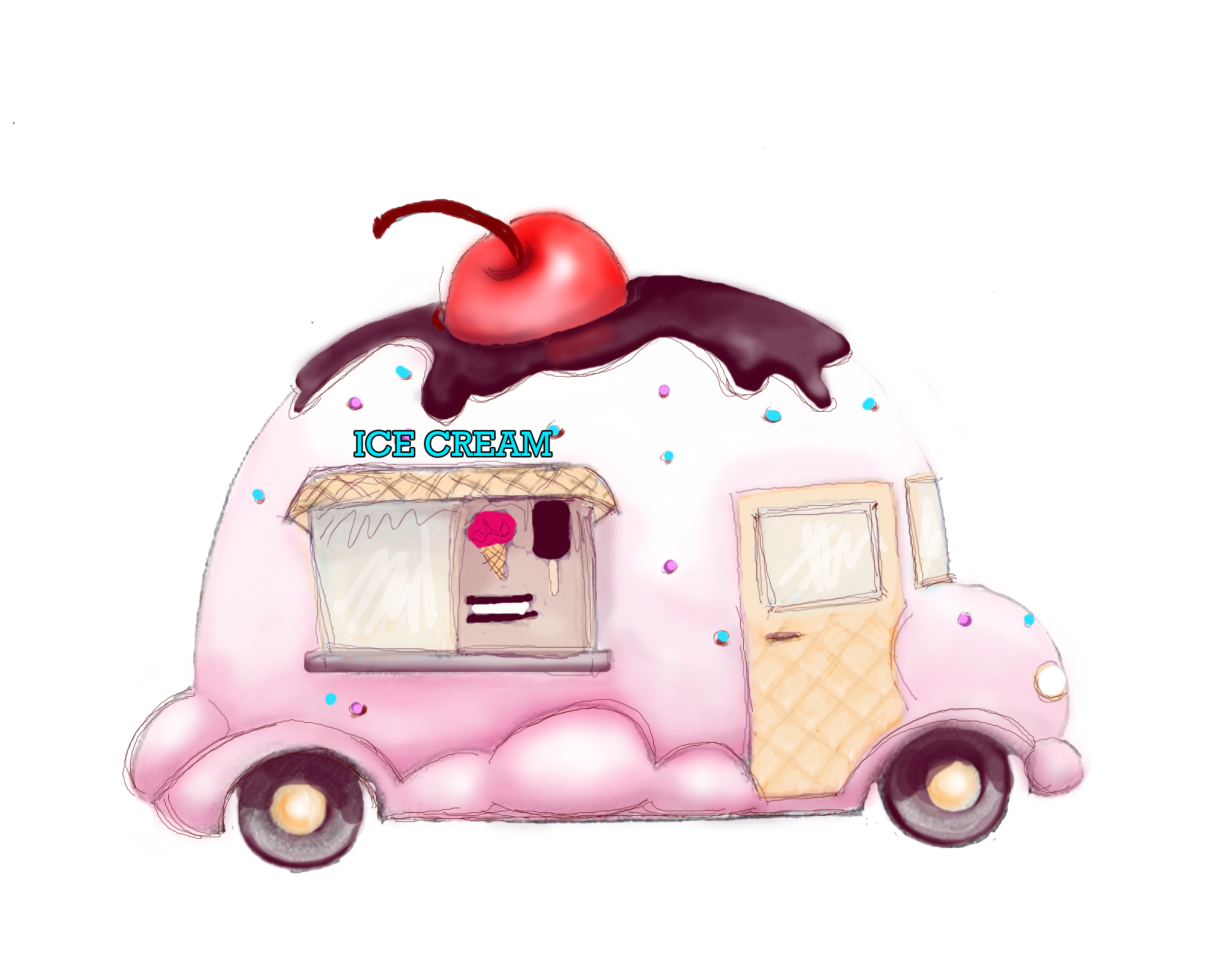 Donut clipart cart. Ice cream art truck