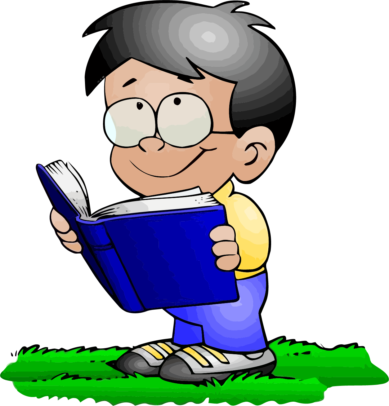 Clipart reading abook. Read a book boy