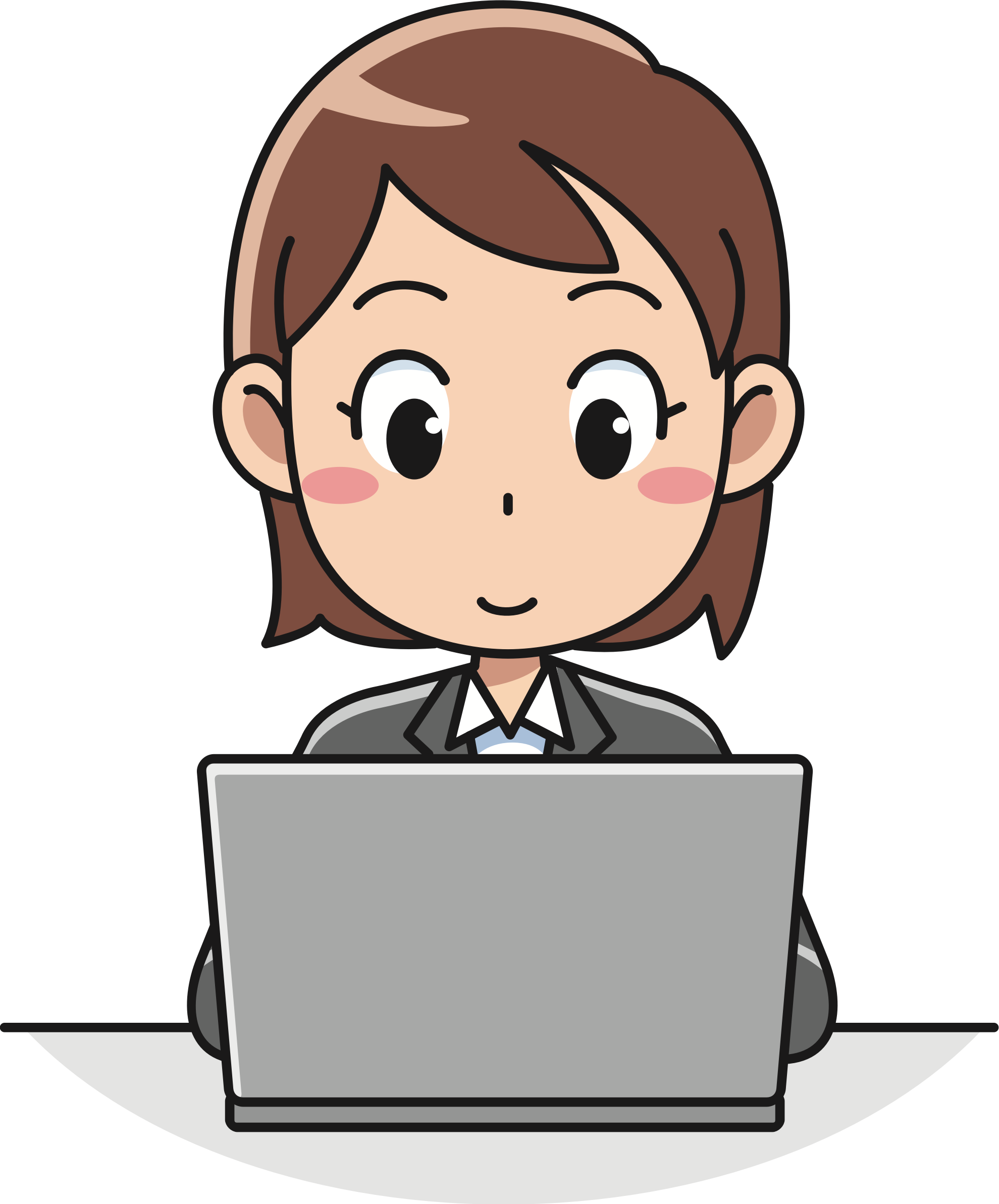 Female user big image. Computer clipart typing