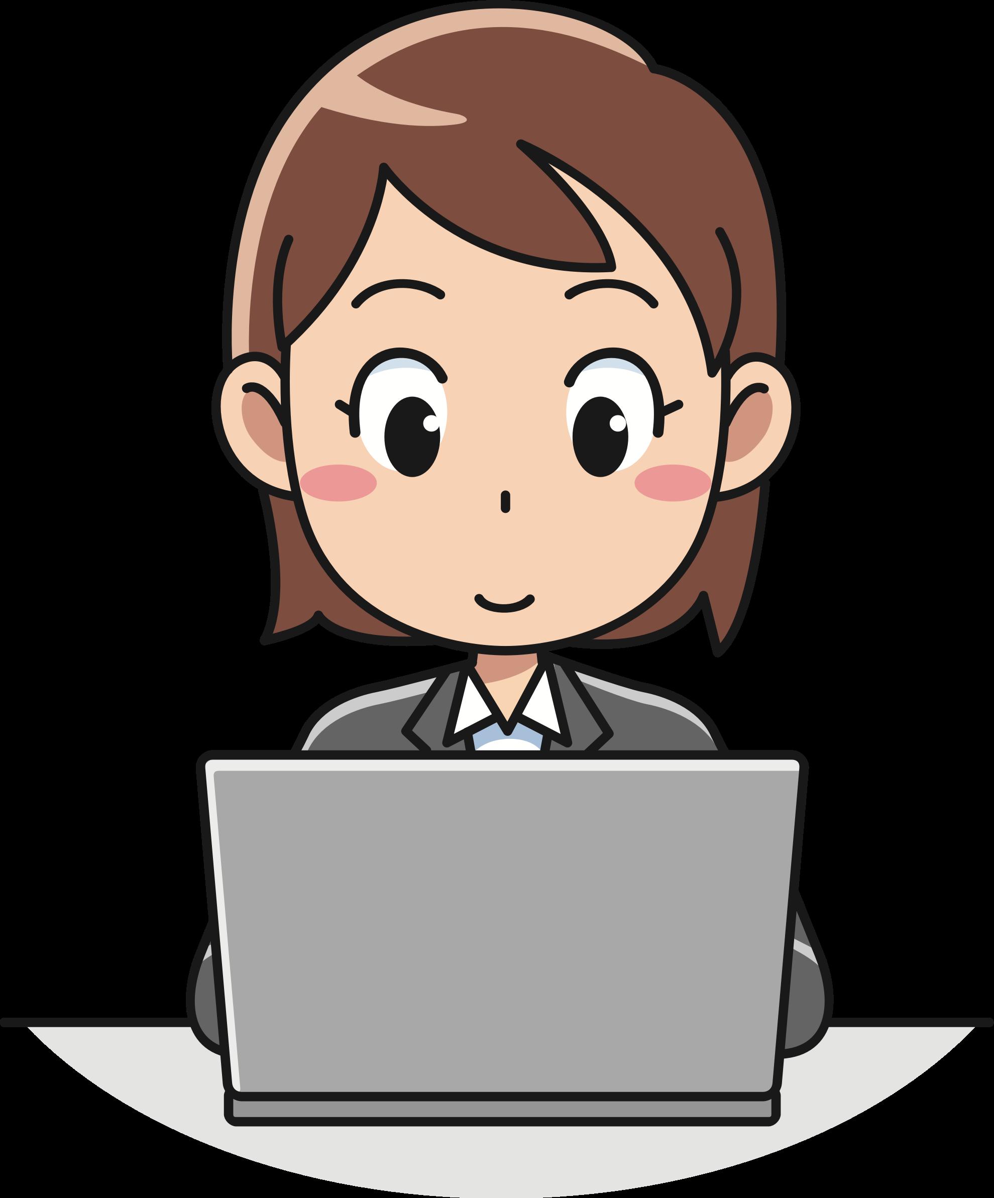 Female computer user big. Clipart boy laptop