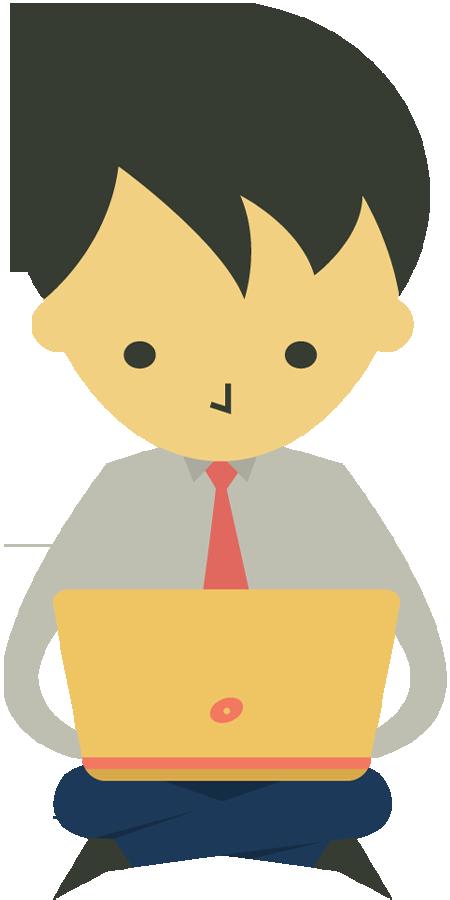 Clipart boy laptop. Portfolio designshop cartoon businessman