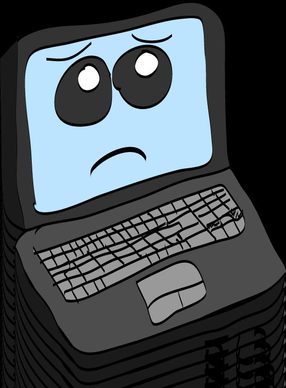 Laptop sad pencil and. Computers clipart cartoon