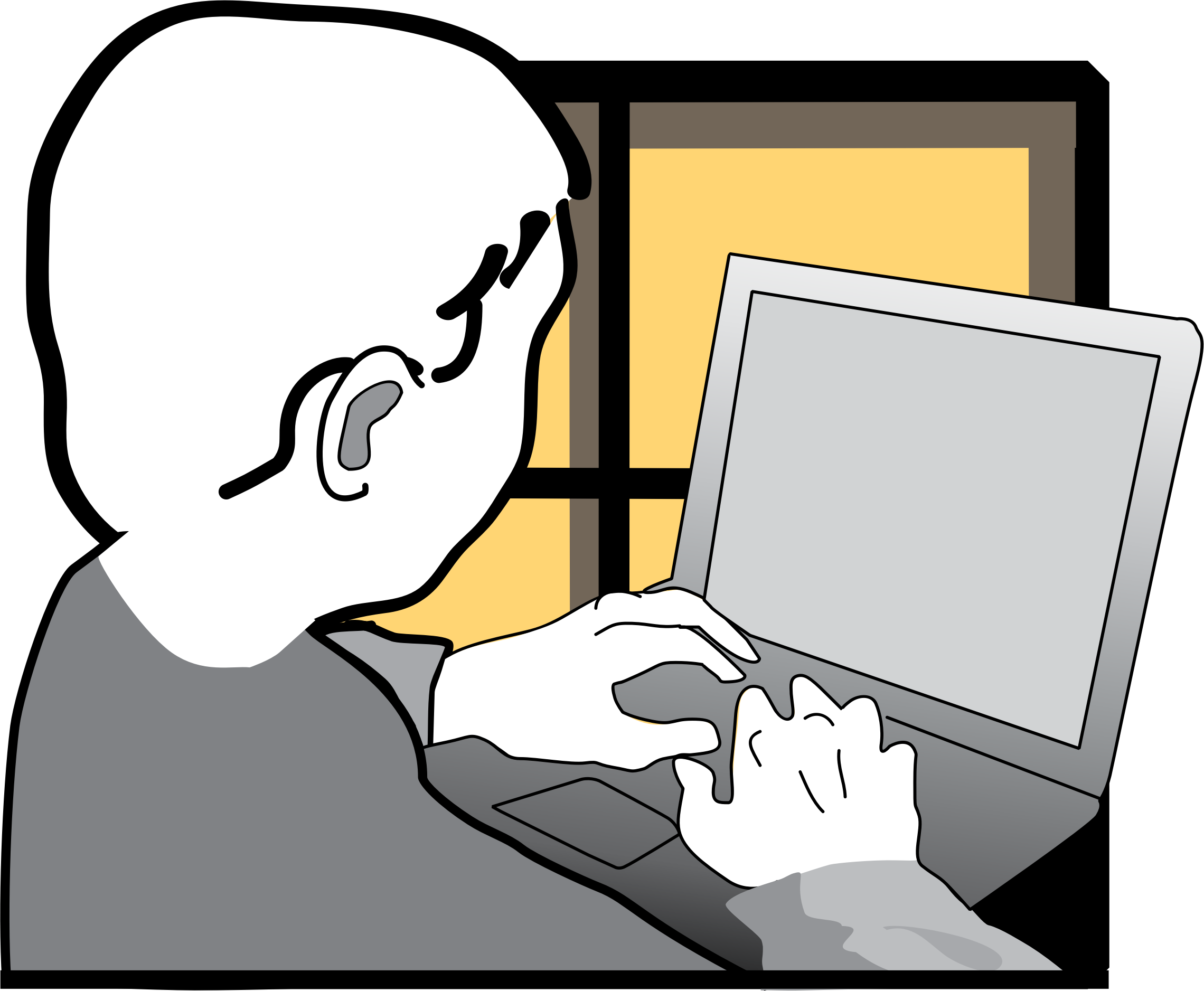 Boy working on a. Study clipart laptop