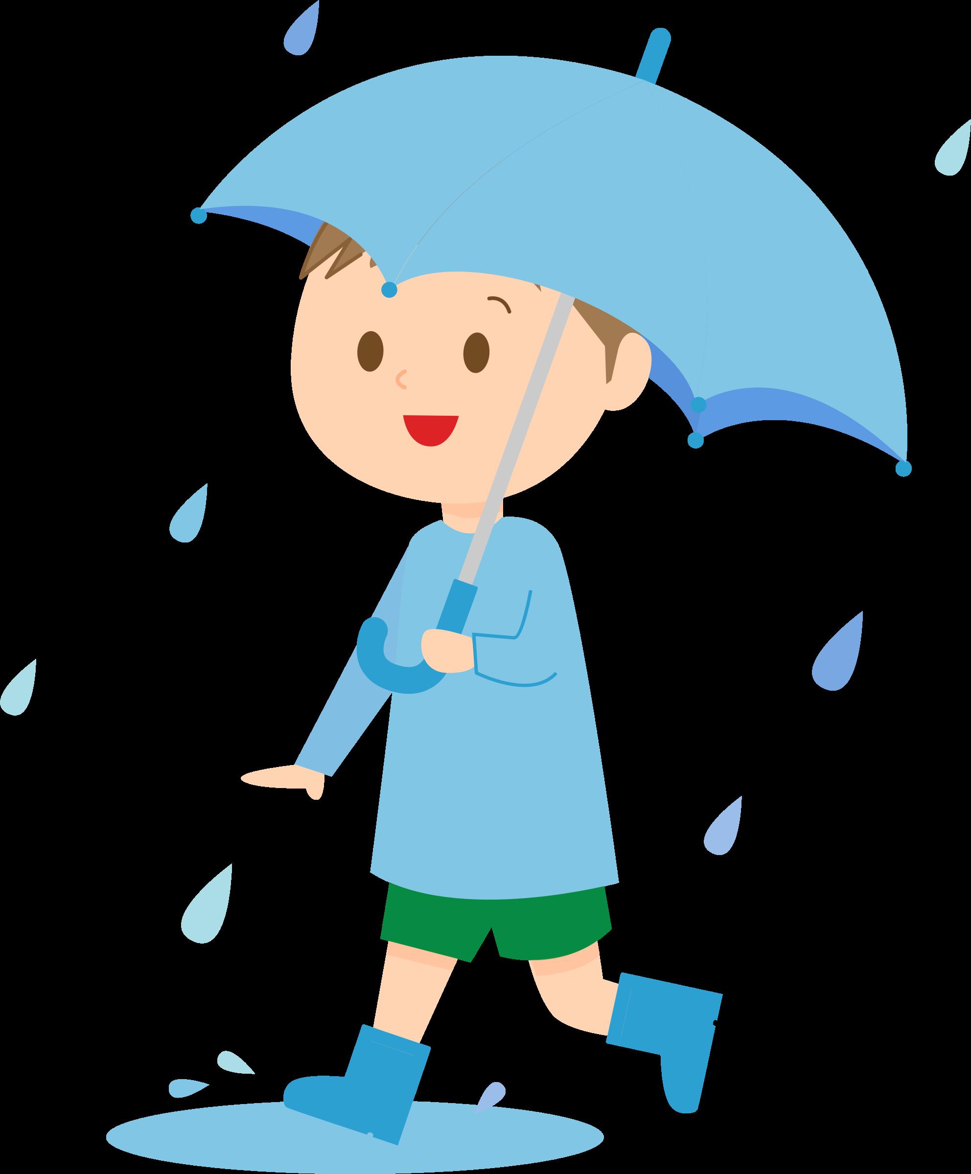 Boy with umbrella clip. Words clipart kid