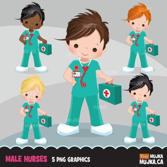 Medical clipart child. Male nurse little boy