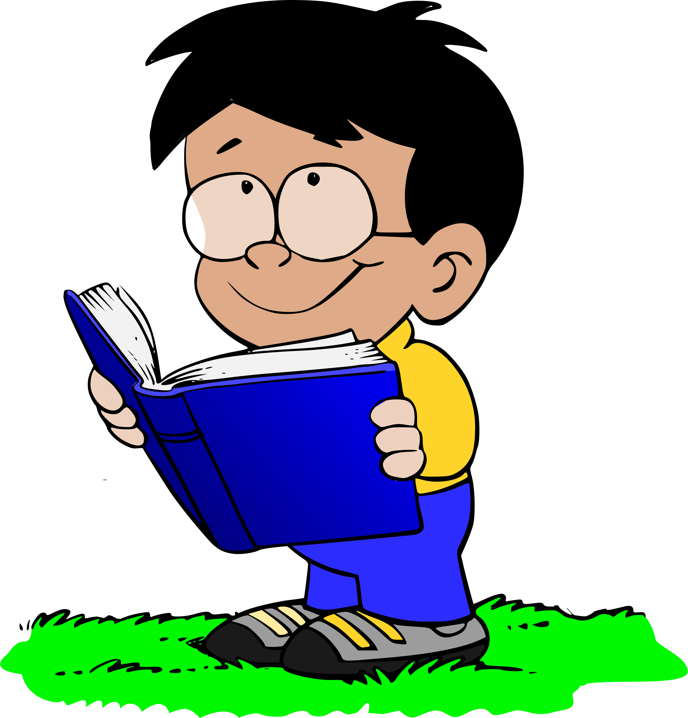 Boy with book big. Glasses clipart kid