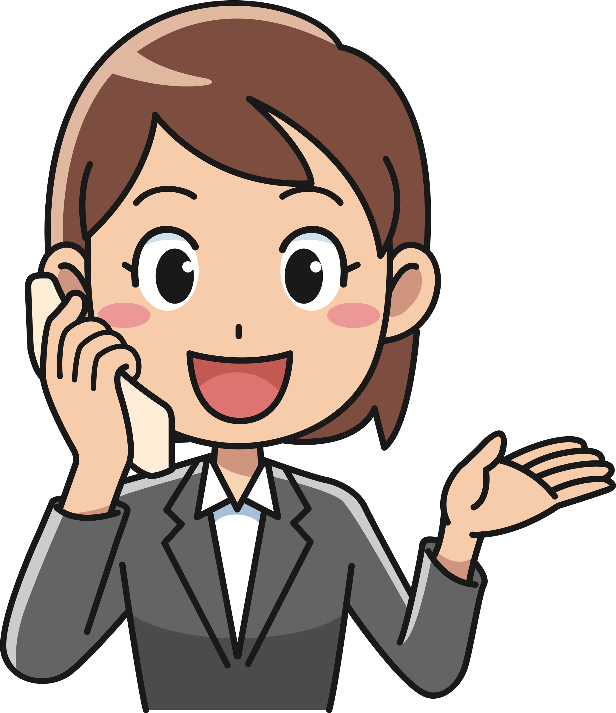 Female using telephone big. Phone clipart person