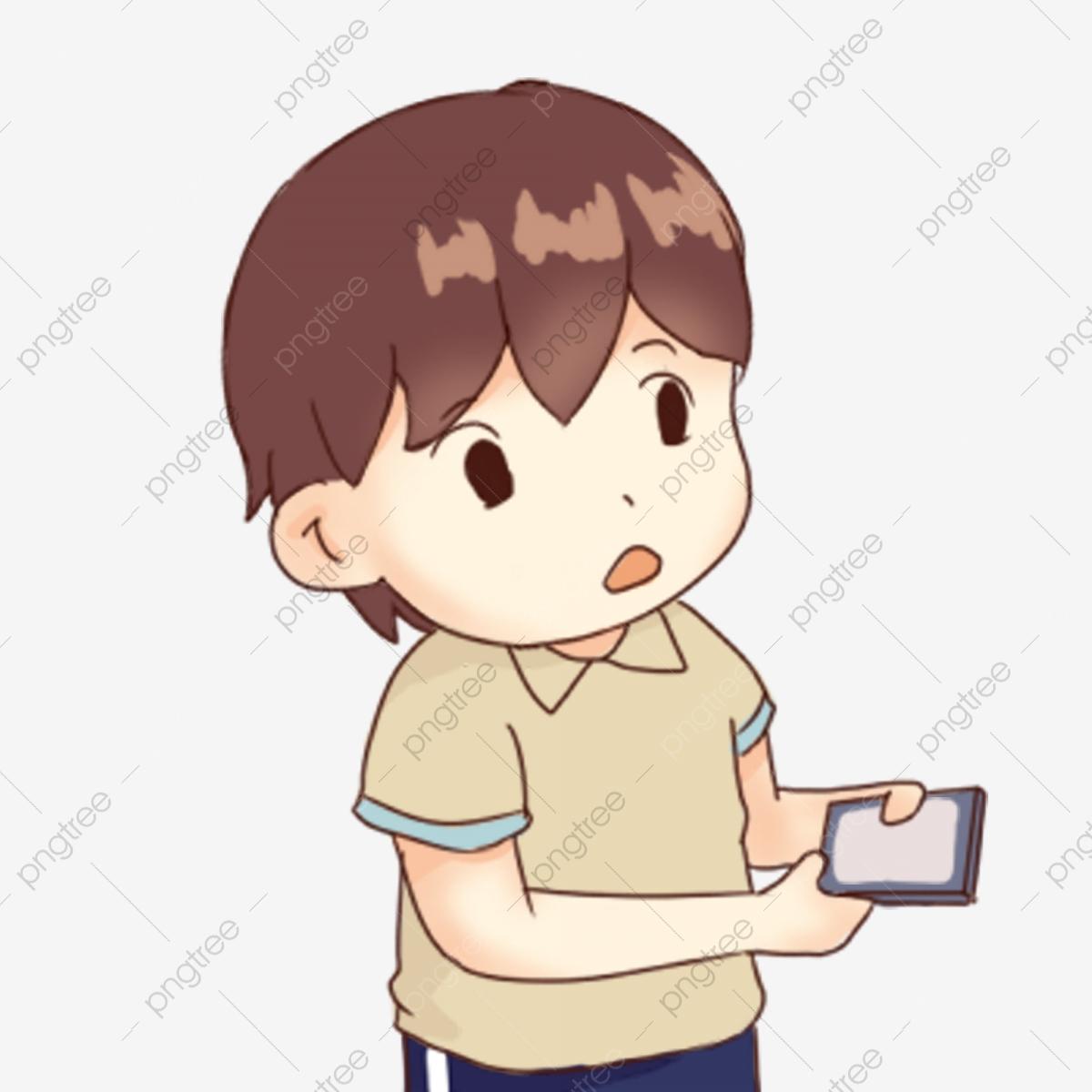 Hand drawn cartoon holding. Clipart phone boy