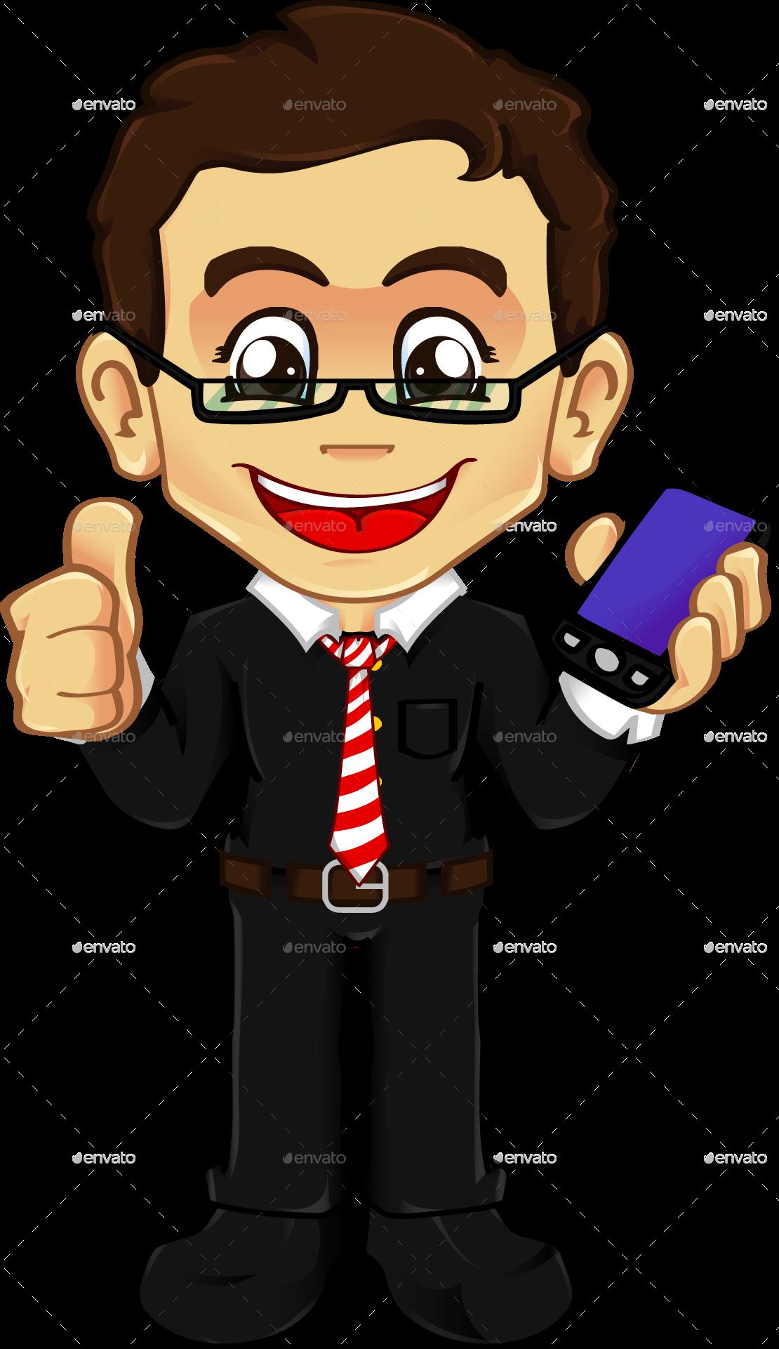 Friendly mascot character kit. Clipart phone boy