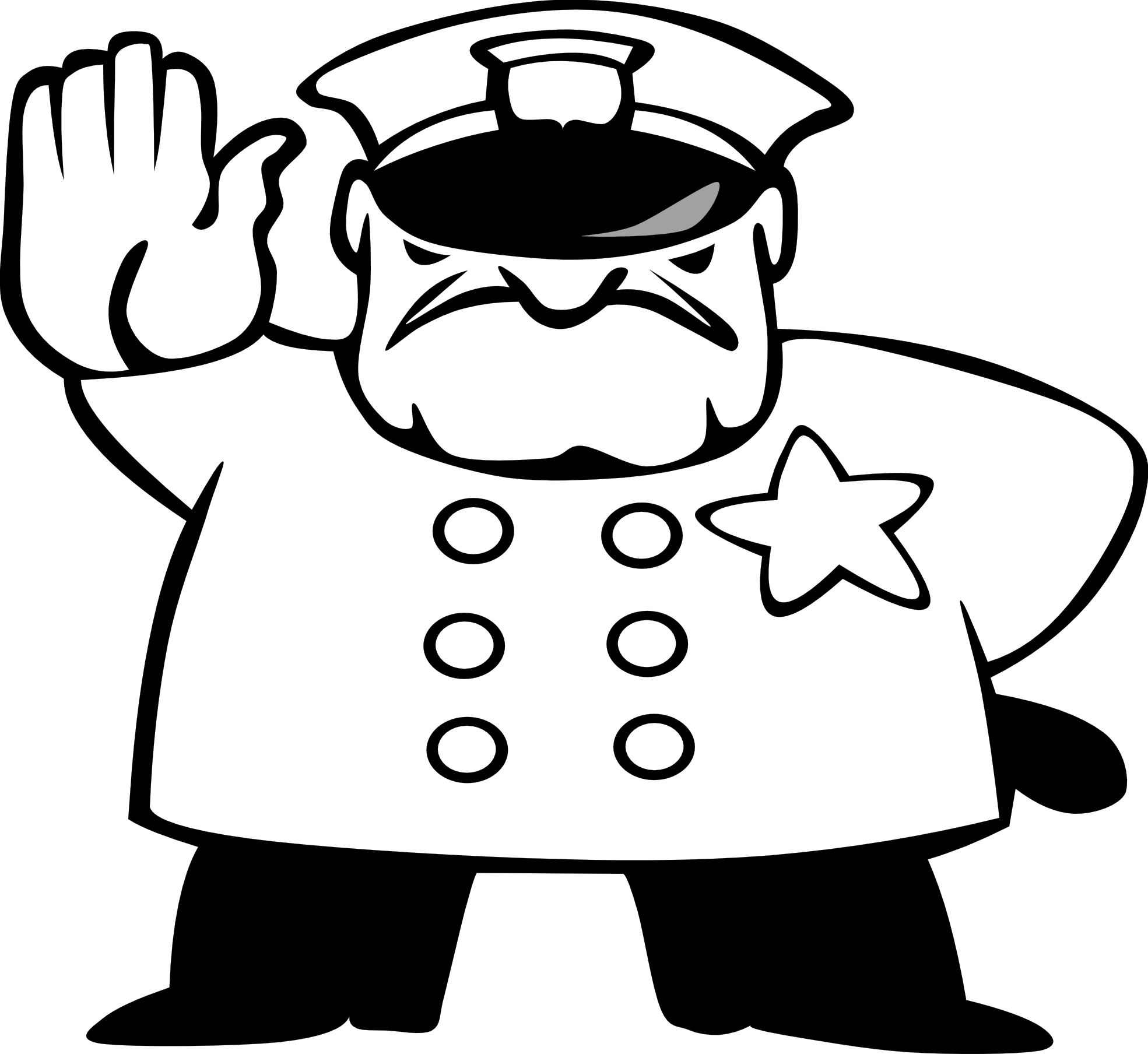 Police black and white. Handcuff clipart policeman