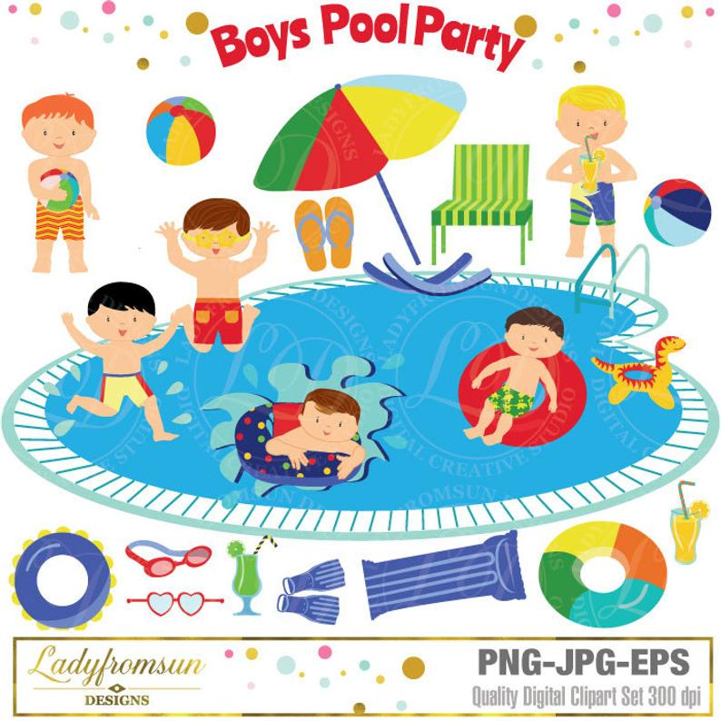 Boys pool party clip. Clipart swimming hobbies