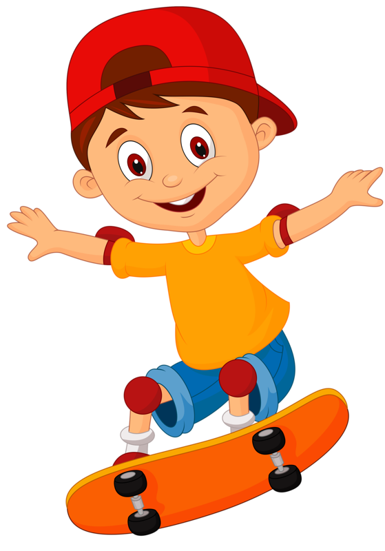 young clipart scateboard